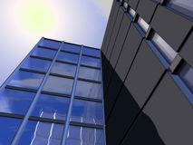 Modern office buildings. Low angle view of high rise modern office buildings with blue sky and cloudscape reflection on windows Stock Images