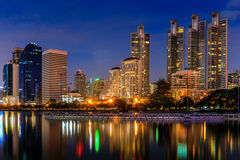 Modern Office Buildings in Bangkok, Thailand, at Night Stock Photography