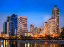 Modern Office Buildings in Bangkok, Thailand, at Night. Modern buildings in office district at night in Bangkok, Thailand Royalty Free Stock Image