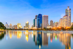 Modern Office Buildings in Bangkok, Thailand, at Twilight with B Royalty Free Stock Photos