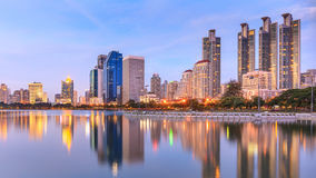 Modern Office Buildings in Bangkok, Thailand, at Twilight Stock Photo