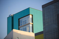 Modern office buildings. Colorful buildings in a industrial place whit sky blue. Royalty Free Stock Photography