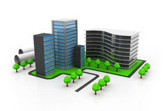 Modern office buildings. 3d illustration of Modern office buildings Stock Photos