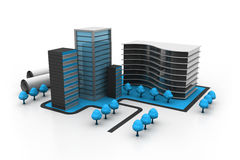 Modern office buildings. 3d illustration of Modern office buildings Royalty Free Stock Image