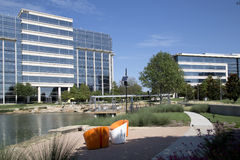 Modern office buildings in Hall Park Frisco TX. Beautiful office buildings and landscapes design in Hall Park Frisco TX USA royalty free stock photo