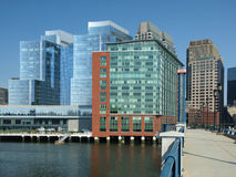 Modern Office Buildings on Harbor Stock Image
