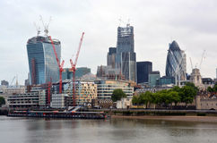 Modern Office Buildings Including the Gherkin on the Thames Rive Royalty Free Stock Photography
