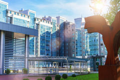 Modern office buildings. And little square Royalty Free Stock Photography