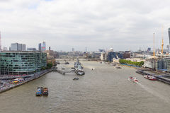 Modern office buildings in London, view from Tower Bridge, London, United Kingdom Royalty Free Stock Images