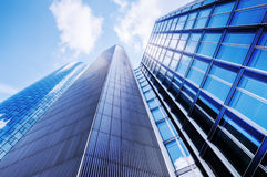 Modern office buildings. In a low angle view Royalty Free Stock Photos