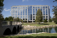 Modern office buildings and nice park Stock Photography