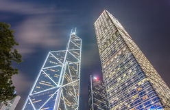 Modern office buildings at night in Central Hong Kong. Royalty Free Stock Photography