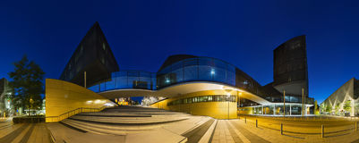 Modern Office Buildings At Night Panorama Stock Photography