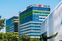 Modern Office Buildings In North District Of Bucharest City. BUCHAREST, ROMANIA - MAY 18, 2017: Modern Office Buildings In North District Of Bucharest City Stock Images