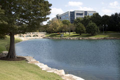 Modern office buildings and outside landscapes. Beautiful modern office buildings and landscapes  design, Hall park Frisco TX USA Royalty Free Stock Photos