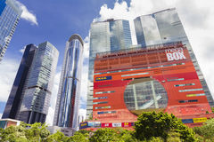 Modern office buildings and shopping mall in Hong Kong. Hong Kong, China - June 8, 2015: Modern office buildings and shopping mall in Hong Kong during daytime Royalty Free Stock Photos