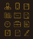 Modern office and business icons set on the dark background. Line yellow creative style. Stock Image