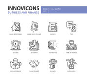 Modern office and business line flat design icons, pictograms set Royalty Free Stock Images