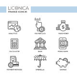 Modern office and business line flat design icons, pictograms set Stock Photo