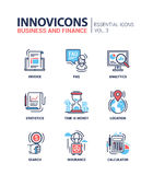Modern office and business line flat design icons, pictograms set Stock Photography