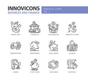Modern office and business line flat design icons, pictograms set Stock Image