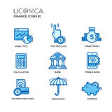 Modern office and business line flat design icons, pictograms set Stock Images