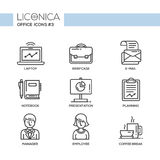 Modern office and business line flat design icons, pictograms set Royalty Free Stock Photography