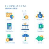 Modern office and business line flat design icons, pictograms set Royalty Free Stock Photos