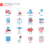 Modern office and business line flat design icons, pictograms set. Set of modern vector office thin line flat design icons and pictograms. Collection of business Royalty Free Stock Photos