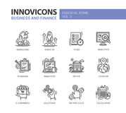 Modern office and business line flat design icons, pictograms set Stock Photos