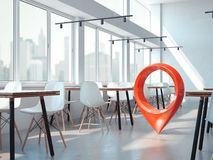 Free Modern Office Cafe With White Chairs And Red Geotag Or Map Pin. 3d Rendering Stock Images - 115152254