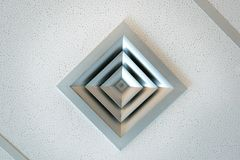 Modern Office Ceiling with Ventilation Duct. Detail of a modern ceiling ventilation duct stock photos