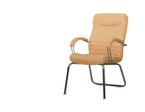 Modern office chair from beige leather Stock Photos