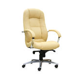 Modern office chair from beige leather. Stock Photo