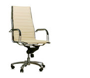 Modern office chair from beige leather. Isolated Stock Image