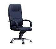 Modern office chair from black leather Stock Photos