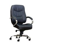 Modern office chair from black leather Royalty Free Stock Photography