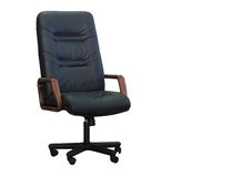 Modern office chair from black leather Royalty Free Stock Image