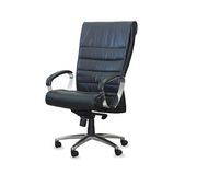 Modern office chair from black leather Stock Image