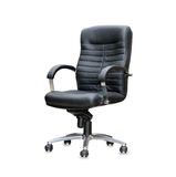 Modern office chair from black leather Royalty Free Stock Images
