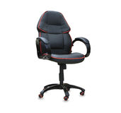 Modern office chair from black leather Stock Images