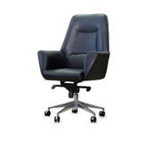 Modern office chair from black leather. Isolated Royalty Free Stock Photo