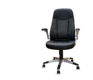 Modern office chair from black leather. Isolated Stock Images