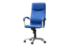 Modern office chair from blye leather. Royalty Free Stock Photos
