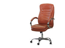 Modern office chair from orange leather Royalty Free Stock Image