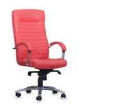 Modern office chair from red leather Stock Photo