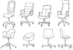 Modern Office Chair Vector Line Art Illustration. For many purpose such as architecture and interior magazine, website, blog, etc. EPS 10 file format stock illustration