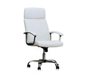 Modern office chair from white leather. Royalty Free Stock Photo