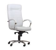 Modern office chair from white leather Stock Photo