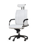 Modern office chair from white leather. Isolated Royalty Free Stock Images